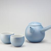 雲母カラー 繭型急須 湯呑 ブルー