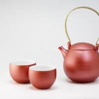 雲母カラー 繭型土瓶 湯呑 レッド