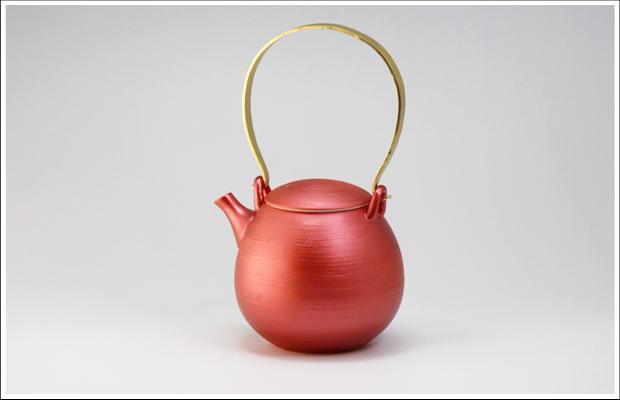 雲母カラー 繭型土瓶 レッド